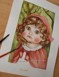 Акварель.  Детские портреты