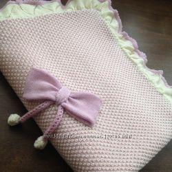 Детский вязанный плед для девочки