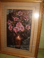 Картина Цветы в вазе, чеканка, в раме под стеклом, 38х52