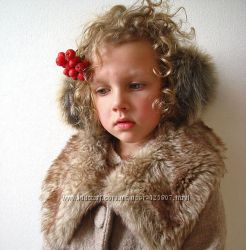 Зимние наушники из натурального меха кролика- купить онлайн