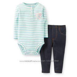 Комплект Carters боди с длинным рукавом и джинсовые лосины