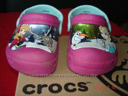Туфли-шлепки Crocs для девочки, по стельке 14см р. 6-7 утепленные