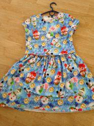 Платье новогоднее, со снеговиками, George, 12-13 лет, бу