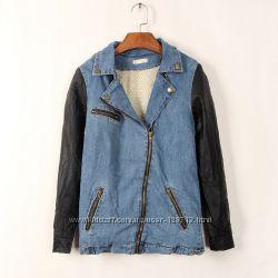 Стильная женская джинсовая теплая  куртка с мехом