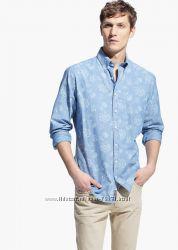 Приталенная хлопковая рубашка Mango
