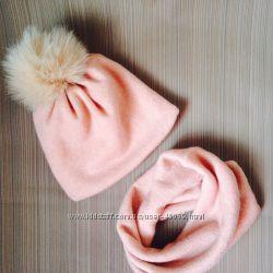 Теплые комплекты шапочка  хомут