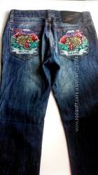 Крутые джинсы Denim 27 р. 42-44 р. с камнями и вышивкой Оригинал
