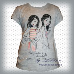 Яркие легкие футболки для девочек Франция