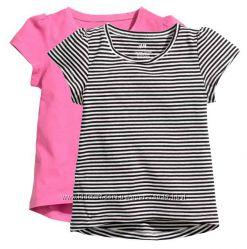 Яркие и легкие футболки для девочек, H&M, Kiabi, Ginkana