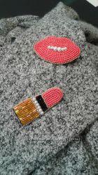 брошки ручной работы вышивка  по фетру чешским бисером