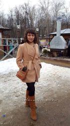Пальто с кажаными вставками
