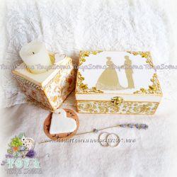 Свадебная Шкатулка для обручальных колец и подсвечник