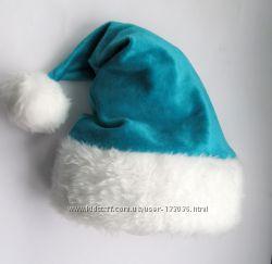Новогодняя шапка санты , бирюзовая детская и Взрослых