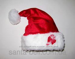 Новогодняя шапка Санта Клауса красная Конфетка взрослая и детская