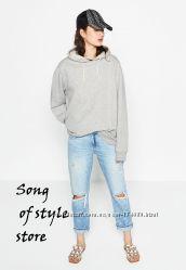 Zara джинсы свободного покроя с разрывами