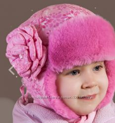 Милая мягусенькая ушанка шапка - розовая и серая