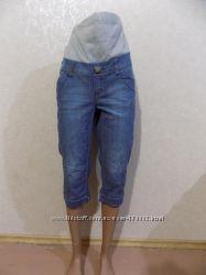 Бриджи капри джинсовые для беременных фирменные etam размер 46-48