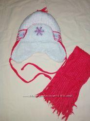 Зимняя шапка и шарфик на девочку 3-4 года 46-48 см