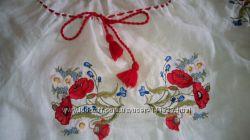 Вышиванка лен с коротким рукавом для девушки девочки размер S
