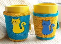 еплая чашка , с вязаным чехлом, вязаные чашки Котики