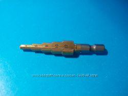 Сверло ступенчатое 4-12мм HSS 4241 конусное, титановое покрытие