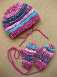 Комплект на флисе из Германии - теплая зимняя шапка и варежки Topolino