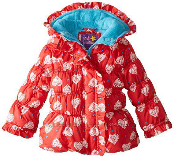 Осенняя курточка в сердечках Pink Platinum с  оборкой Демисезонная 12-18мес