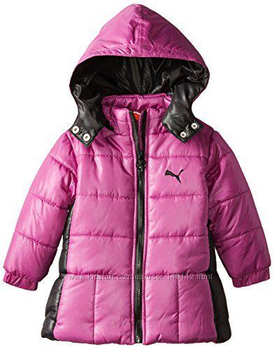 Теплая Длинная куртка Курточка детская PUMA с капюшоном Пума 6-7л Еврозима