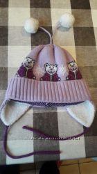Зимняя теплая шапка 1-3 года, шерсть