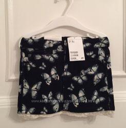 Новая вельветовая юбка с кружевом H&M, 2-3 года