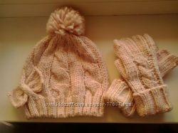 Комплект шапка, перчатки 3-6 лет