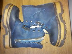 Синие кожаные ботинки на цигейке р. 30