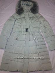 Пуховик женский серый с мехом на воротнике фабричный Китай очень теплый