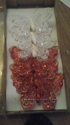 Бабочки на клипсе 18 см, 6 шт