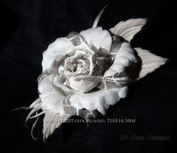 Цветы из шелка и текстиля ручной работы. Броши, заколки, обручи для волос.