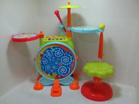 Барабанная установка с микрофоном и стульчиком Просто супер подарок
