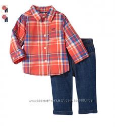 Набор джинсы и рубашка с пуговицами Carters