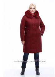 Стильный, модный пуховик пальто с натуральным мехом, цвет марсала р. 48-50