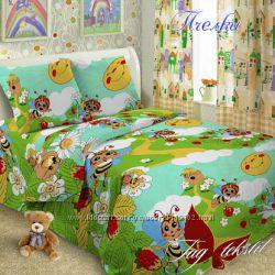 полуторный комплект, 1, 5 постель Пчелки, поплин
