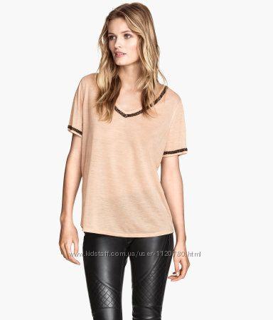 Стильная футболка со стразами оверсайз H&M размер m-l