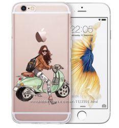 Чехол айфон 5 5s se 6 6s 6plus 7 8 силикон с девушками