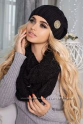 Комплект женский шапка и шарф черный