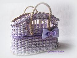 плетеная сумочка и корзинка Прованс