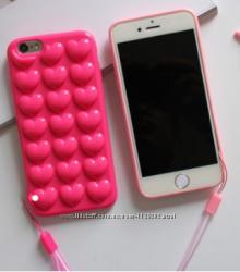 Силиконовый чехол розовые Сердца для iPhone 6 6S 7 пленка и шнурок