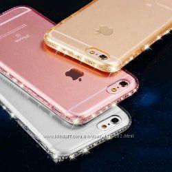 Силиконовые чехлы с камнями Сваровски для Iphone 5 5S 6 6S 6 PLUS 7