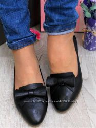 Балетки-туфельки з пресс шкіри. На середню повноту ніжки