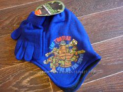 Шапка и перчатки с черепашками Ниндзя на флисе, 54 размер из Франции