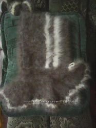 Шапка с воротничкои из натурального кролика