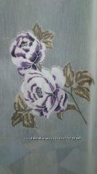 Тюль лен батист в цветах