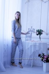 Пижама женская штаны и кофта рукав три четверти